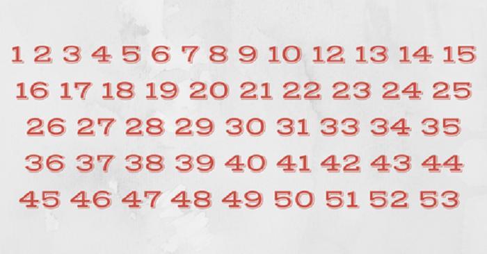 Самый внимательный человек может найти недостающее число всего за 10 секунд: простой тест на внимательность