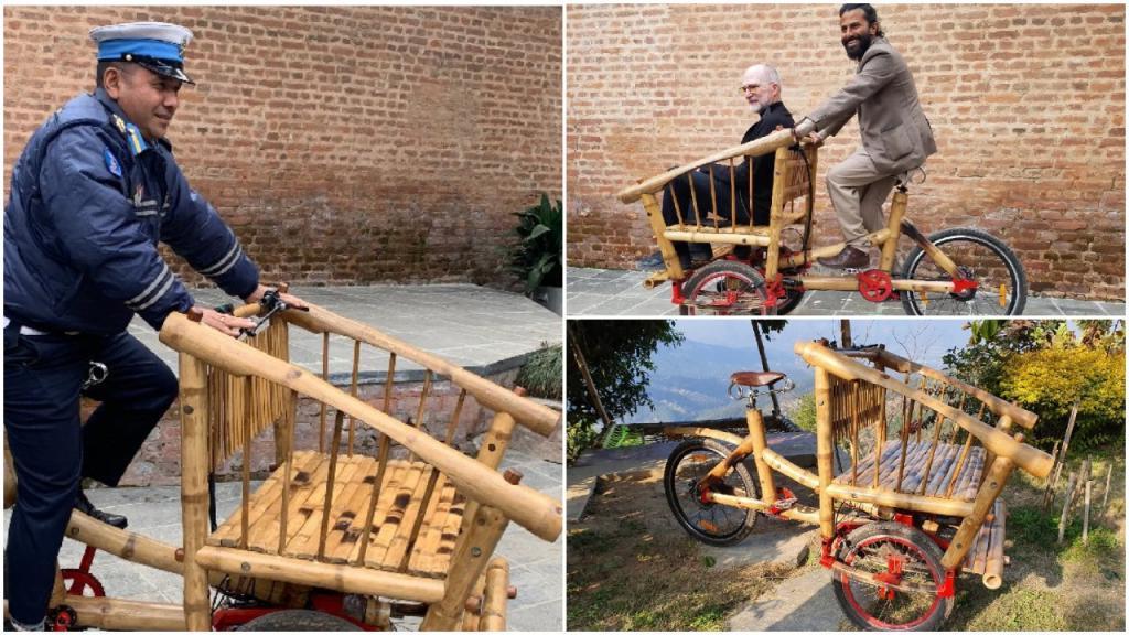 Катманду: эко велосипед сделан из бамбука, и даже дорожная полиция не против его применения