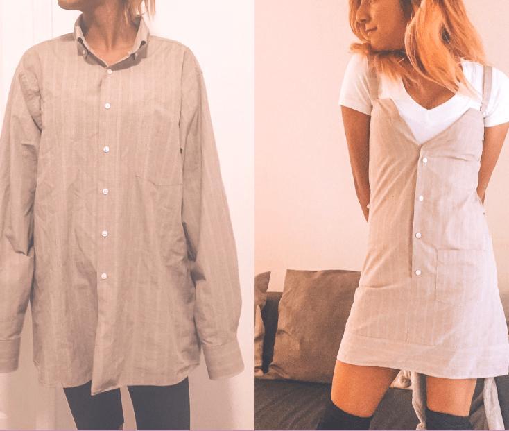 Старую мужскую рубашку можно превратить в необычное платье: в магазинах за такое пришлось бы выложить много денег