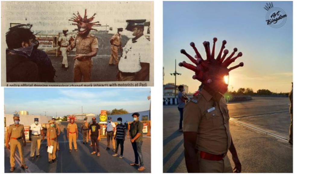 Индия: полицейский надел шлем «Коронавирус», чтобы убедить автомобилистов остаться дома