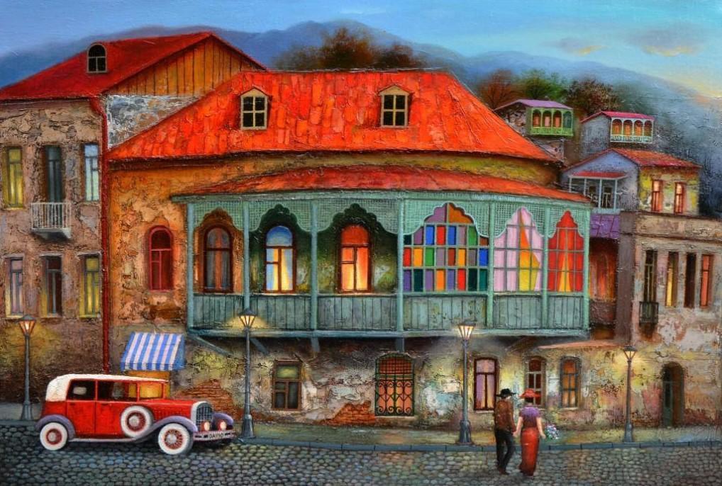 Яркие картины Давида Мартиашвили всегда поднимают настроение: очарование старого Тбилиси