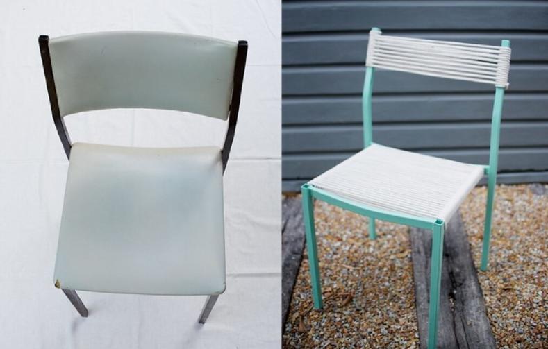 Решила преобразить старые стулья: сняла спинки, сиденья и заменила их толстой веревкой