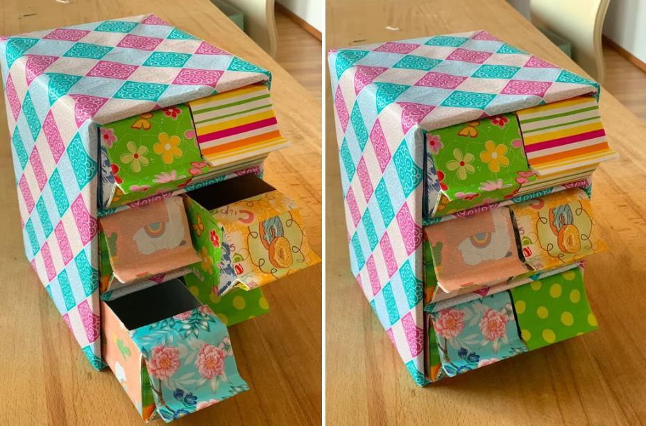 Взяла бумажные коробки из-под молока, упаковочную бумагу и сделала стильное хранилище для чайных пакетиков