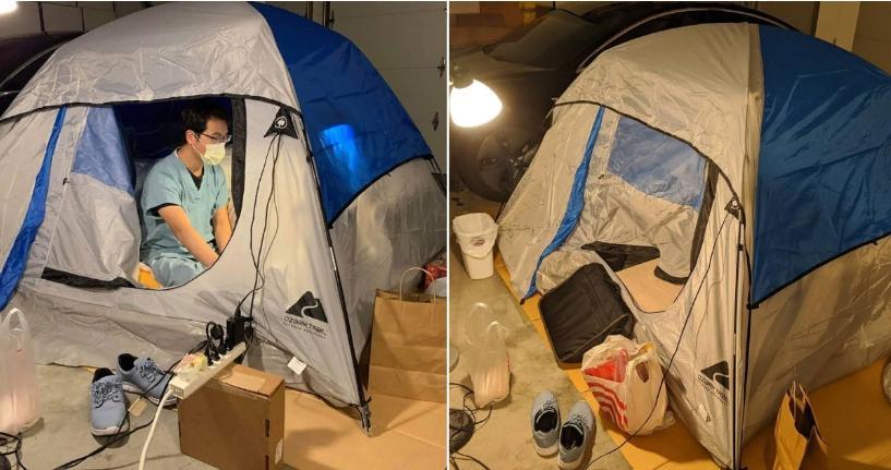 Жертва ради блага семьи: чтобы продолжить лечить пациентов, врач переселился из своего дома в палатку (фото)