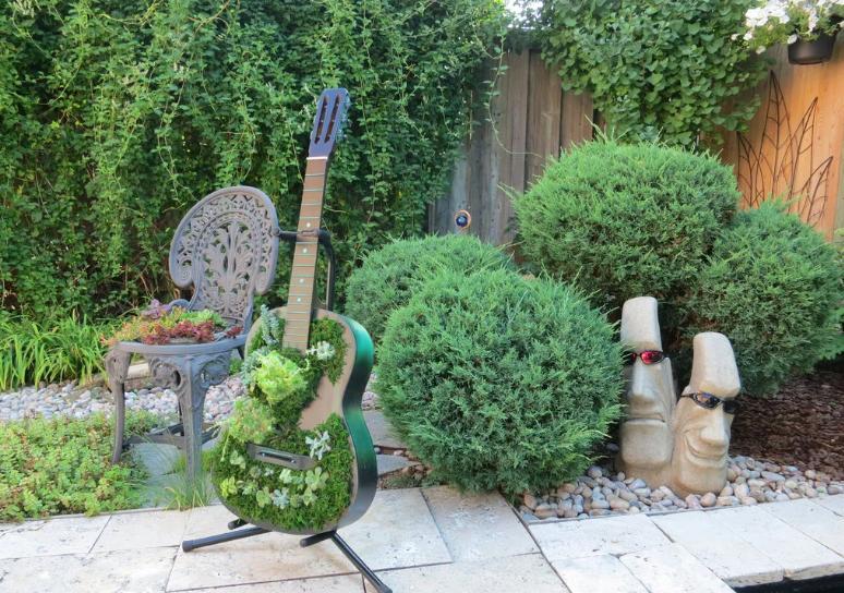 Старую гитару решила не выбрасывать: засыпала в нее землю и посадила много красивых суккулентов