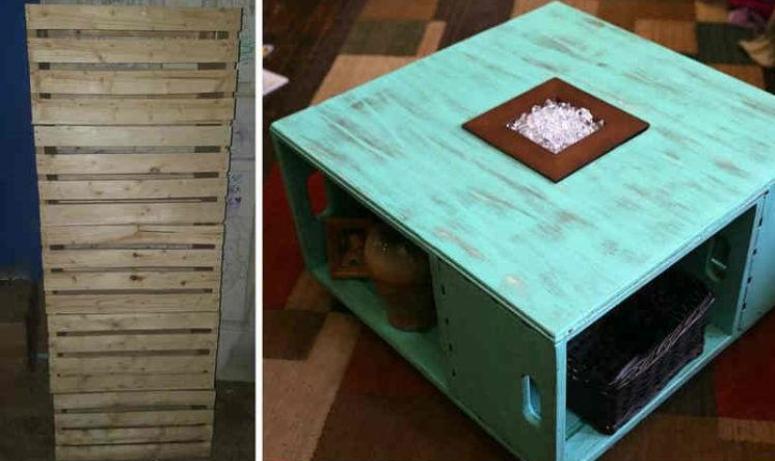 Из деревянных ящиков смастерила стильный журнальный столик: результат