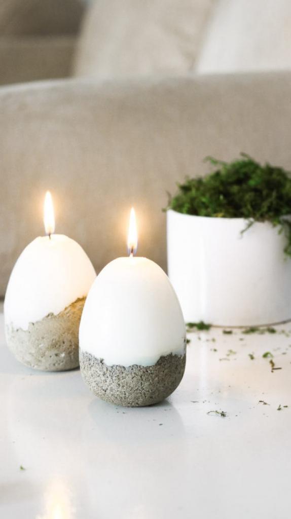 Из бетона получаются очень милые вещицы: делаем красивые декоративные свечи