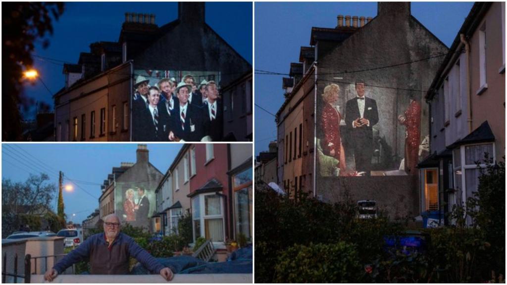Соседи собрались посмотреть фильм с участием Мэрилин Монро, который проектировался на стене соседнего дома