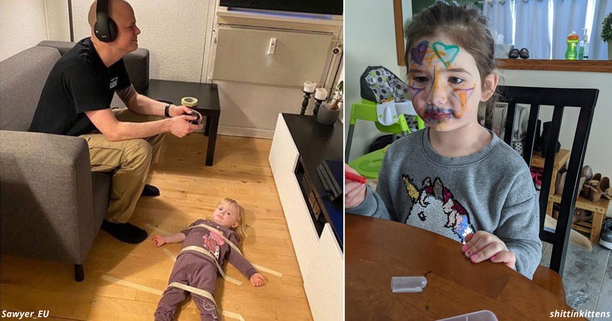 30 смешных фото родителей, застрявших на карантине вместе с детьми