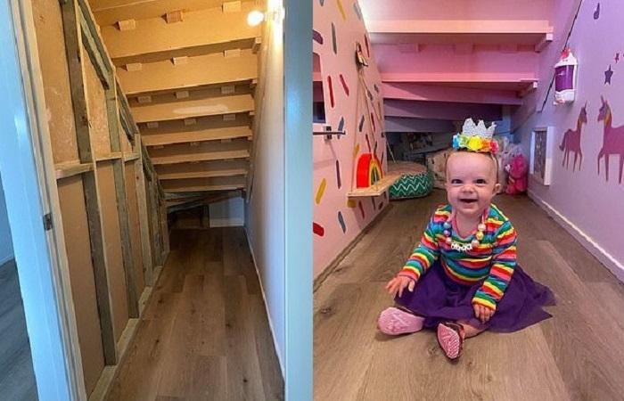 Мама превратила темное пространство под лестницей в яркий форт для своих крошек, потратив на это копейки