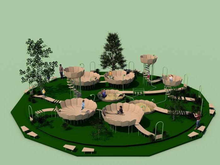 Легко дезинфицировать, и есть отдельные входы: немецкие дизайнеры создали безопасную детскую площадку