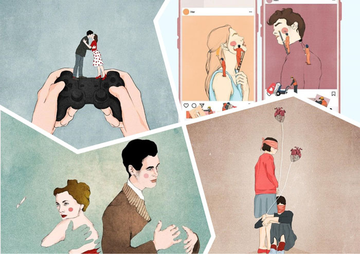 Интерпретация отношений: сюрреалистические иллюстрации показывают, что любовь полна манипуляций