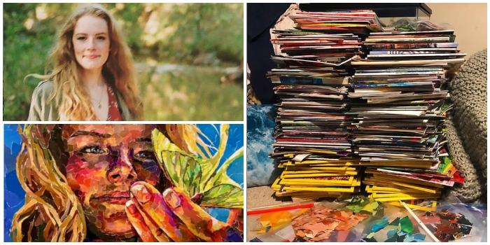 Дедушка хотел выкинуть старые журналы, но 19-летняя художница нашла для них применение