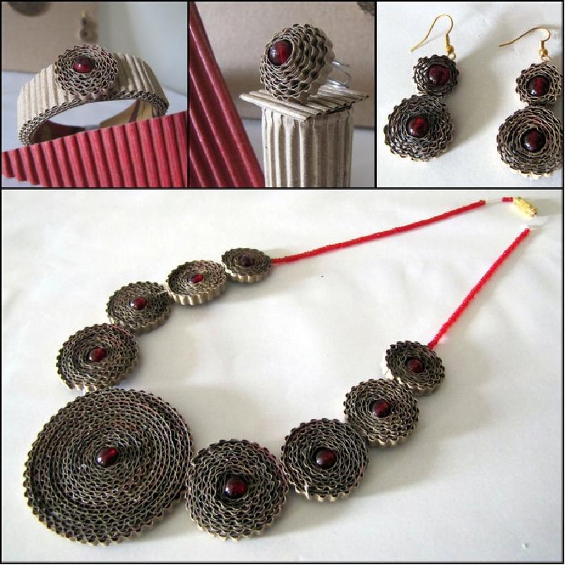 Перстень, браслет и серьги: из обычного картона создаю винтажные украшения