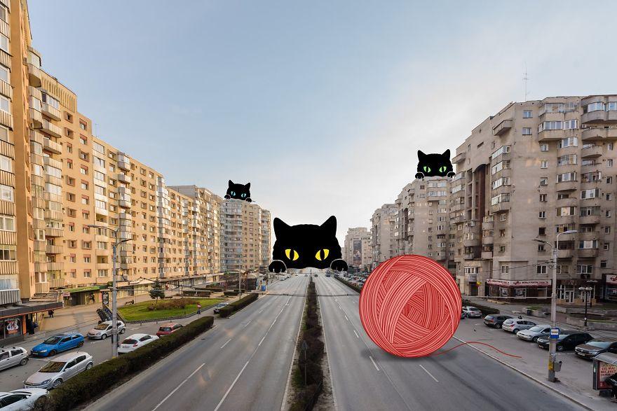 Коты с клубком, небоскреб-баллончик, спрут: художников попросили пофантазировать на тему пустых городов