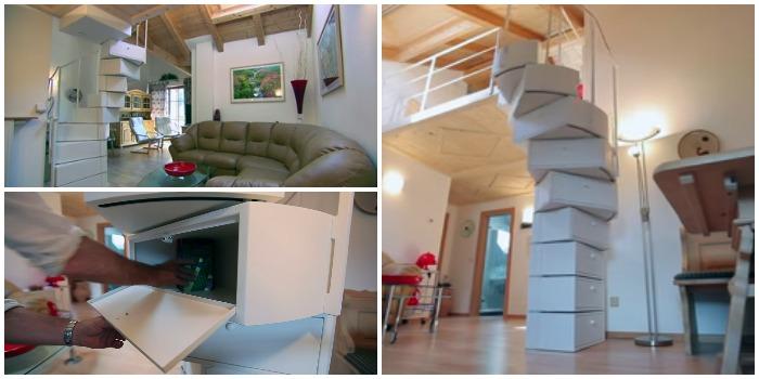 Необычная концепция складной винтовой лестницы, где ступеньки служат отсеками для хранения вещей