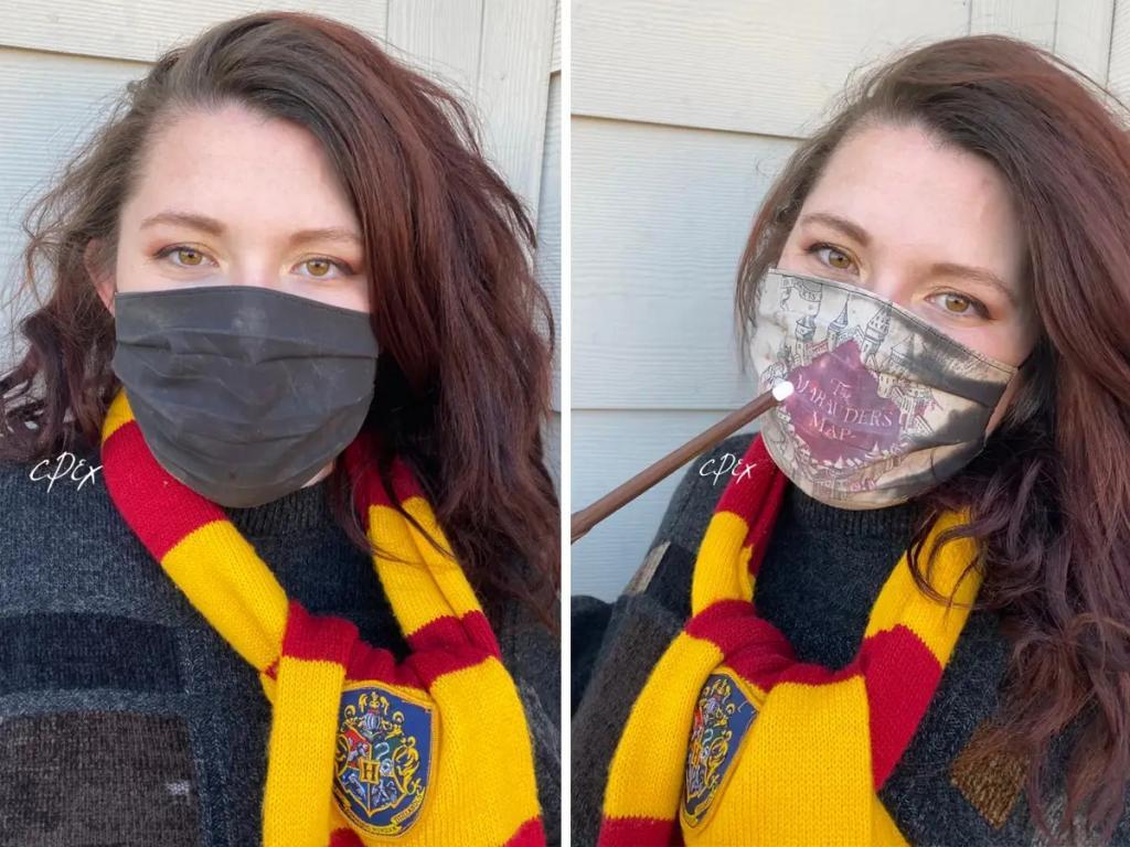 Фанатка  Гарри Поттера  сделала волшебную маску для лица, секрет которой раскрывается при дыхании