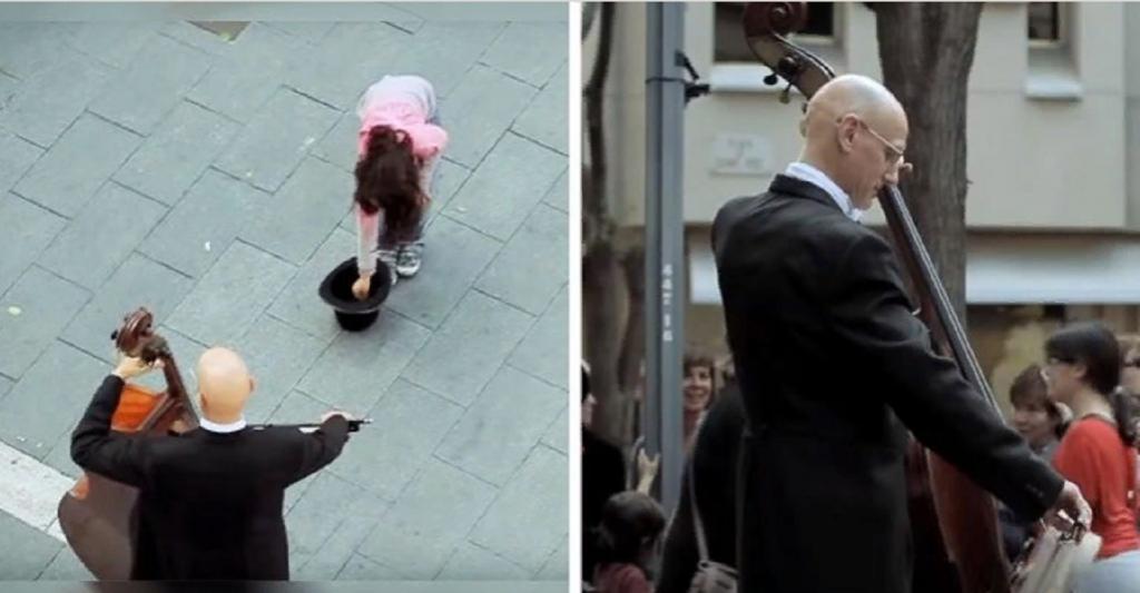 Девочка подошла к уличному музыканту. Через несколько минут рядом с ними собралась уже толпа