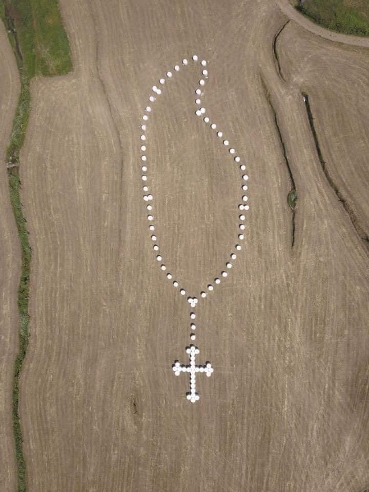 В память о жертвах COVID-19: португальские фермеры сделали гигантские четки на поле