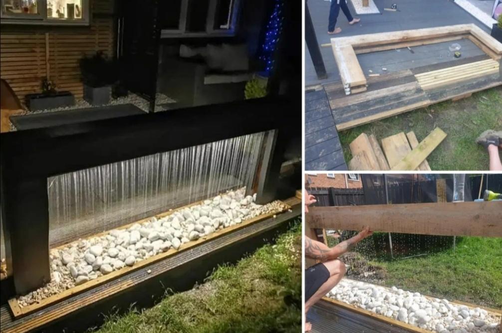 Пара соорудила фонтан из старых досок: люди были впечатлены семейным проектом