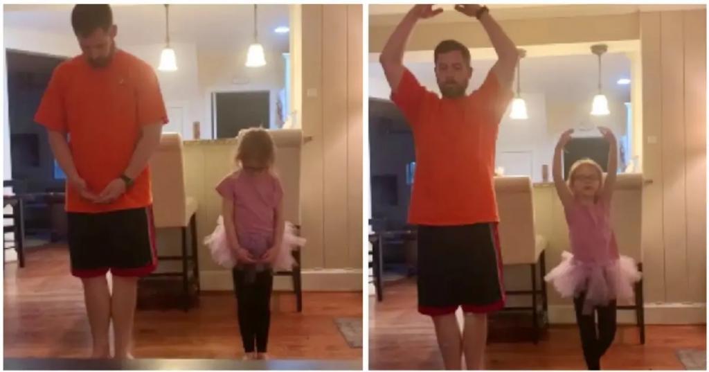 Девочка нервничала перед онлайн-уроками балета, поэтому любящий папа решил ее поддержать (милое видео)