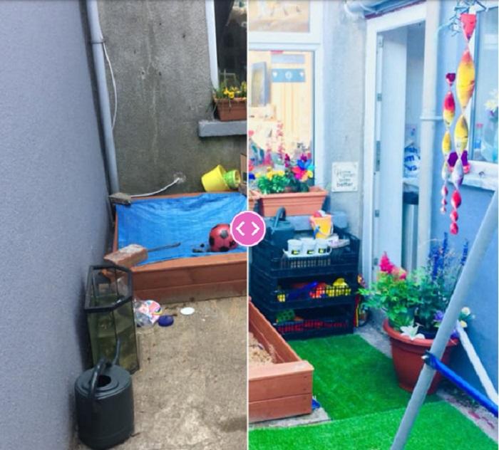 Мама превратила крошечный двор за кухней в красочный игровой уголок для детей: фото