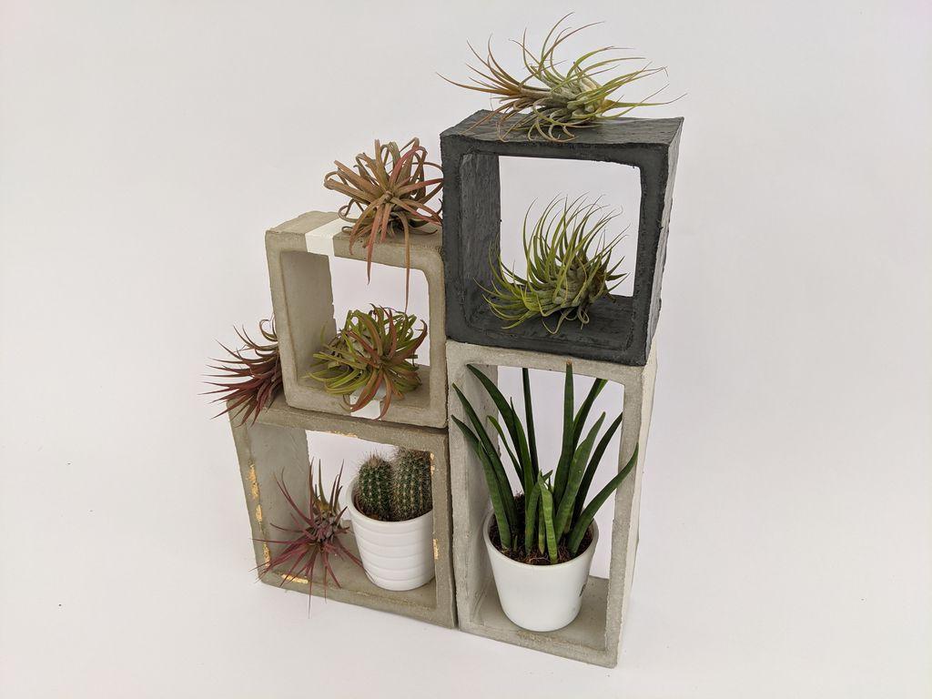 Гостиную украсила с помощью стильных подставок для цветочных горшков: сделала их из цемента и картонных коробок