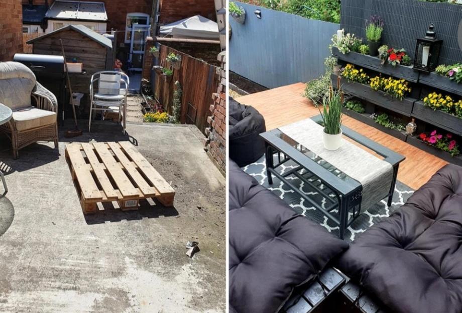 За 2 недели девушка полностью преобразила свой бетонный двор: объемные кресла, цветочные горшки послужили созданию стильной зоны отдыха