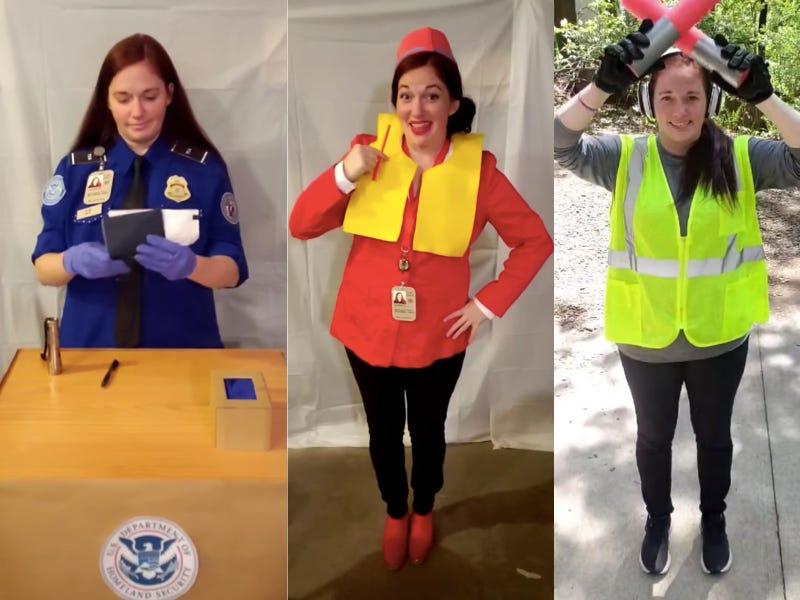 Женщина изобразила стюардессу, путешественника, сотрудника службы транспортной безопасности: если в пандемию путешествие не идет к нам, тогда мы идем к нему