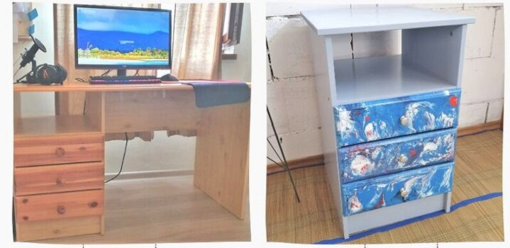 Разобрала старый офисный стол и сделала из него «мраморную» тумбу