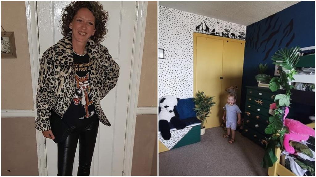 Мама купила зеленую краску и искусственные растения, а затем показала детям их новую комнату