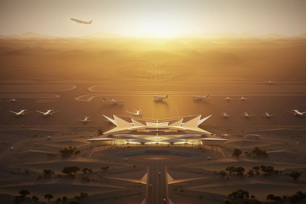 Не аэропорт, а мираж в пустыне. Роскошный саудовский курорт Амаала представил проект необычного аэропорта