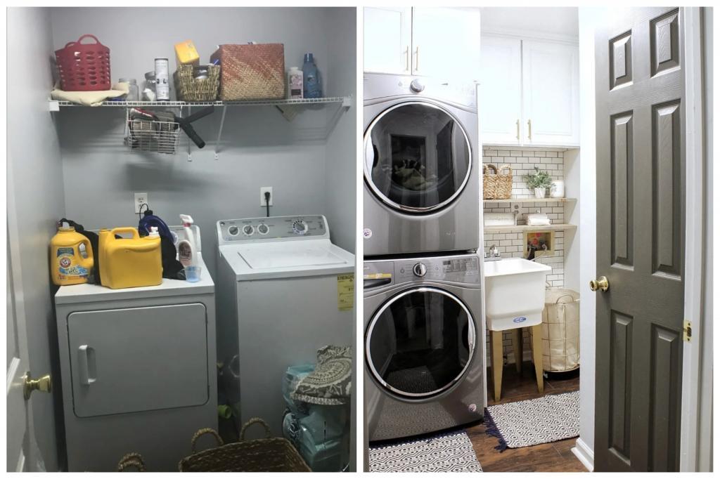 Как установка встраиваемой техники изменила внешний вид прачечной: фото до и после