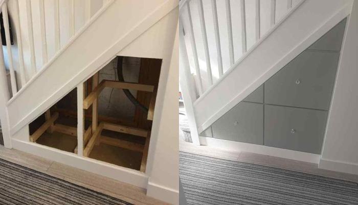 Чтобы сэкономить деньги и свободное место, муж сделал встроенный комод под лестницей. Результат порадовал
