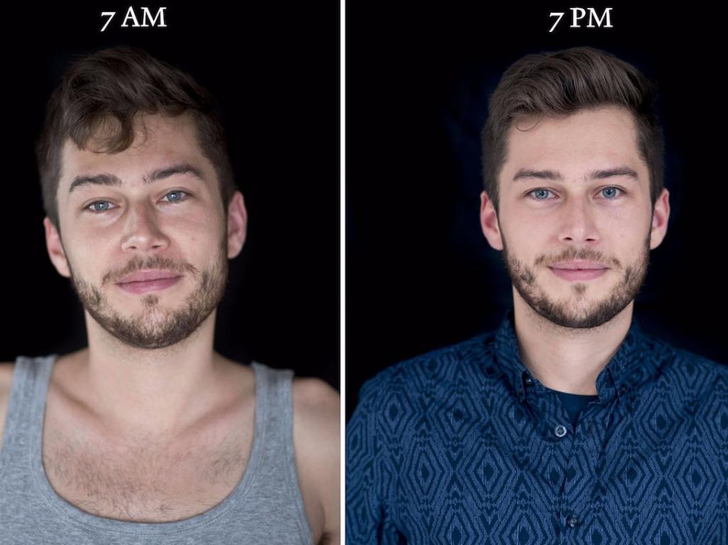Лица людей утром и вечером: фотограф запечатлел людей в 7:00, а потом в 19:00 (фото)