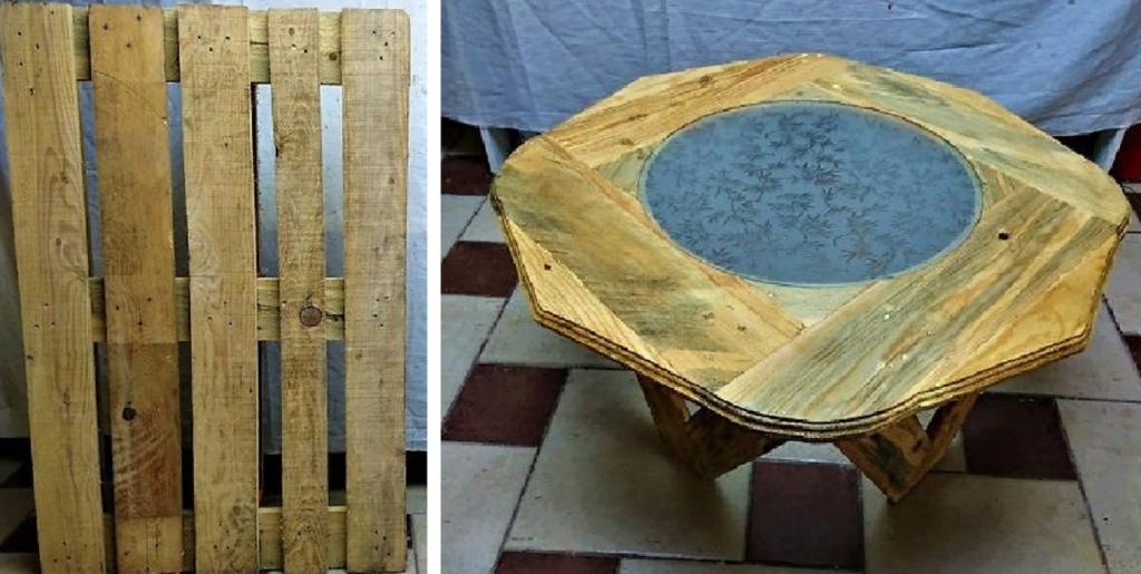 Друг взял два деревянных поддона и сделал из них журнальный столик. Такой в магазине не купишь