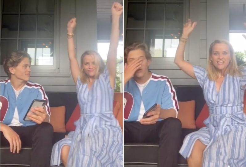 Риз Уизерспун не смогла сдержать эмоций: услышав первый сингл своего 16-летнего сына Дикона, она тут же решила станцевать под него (видео)
