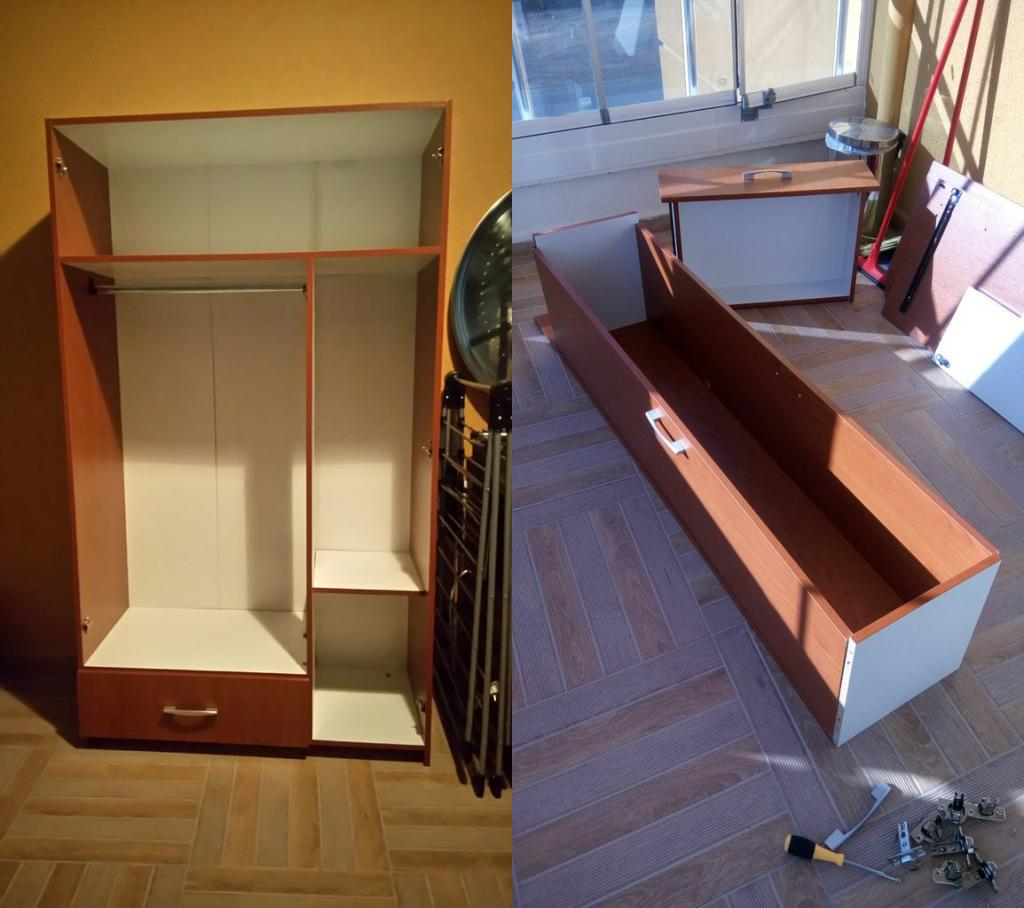 Муж разобрал старый шкаф из прихожей и сделал из него небольшую грядку, которую мы поставили прямо на балконе