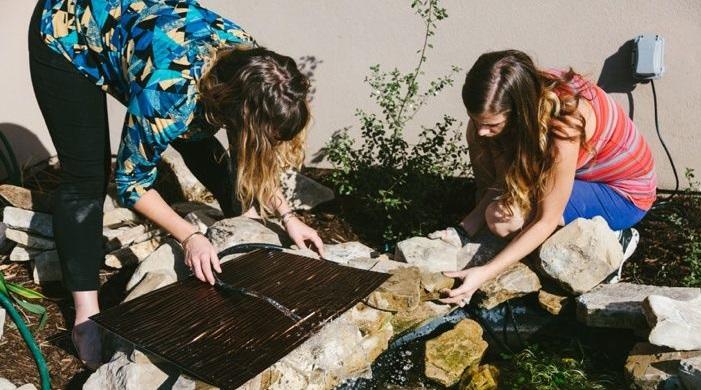 Решили преобразить двор: за два дня девушки построили пруд с водопадом