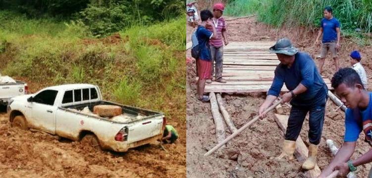 Из за плохих дорог подростки из Малайзии потратили 7 часов на то, чтобы добраться до своей школы (фото)