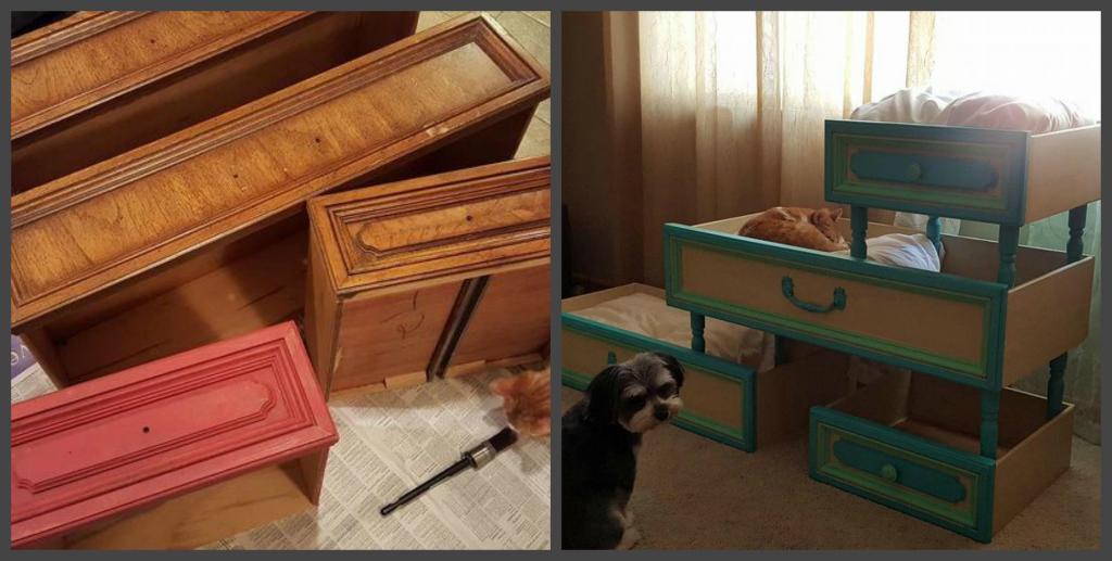 Муж отдал старые ящики своей клиентке, а она превратила их в шикарное ложе для кошек: фото