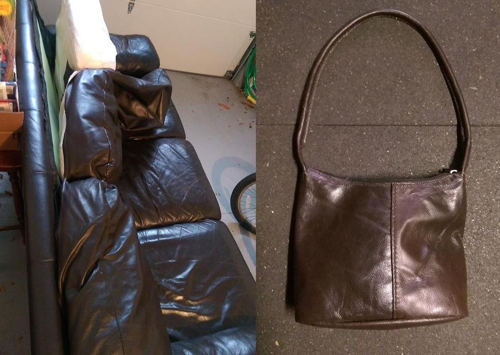 Прежде чем выбросить старый кожаный диван, муж снял с него часть обивки: я не понимала зачем, пока он не преподнес мне в подарок сделанную из нее сумочку