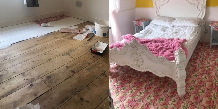 Бабушка взяла салфетки и сделала красивый пол в спальне внучки за копейки. Результат превзошел все ожидания