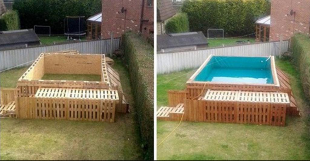 Мужчина построил крутой плавательный бассейн: лайфхак с использованием поддонов