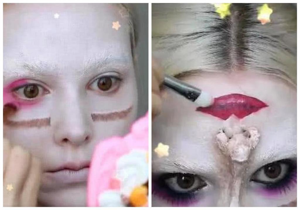 Девушка нарисовала свое лицо вверх ногами: фото