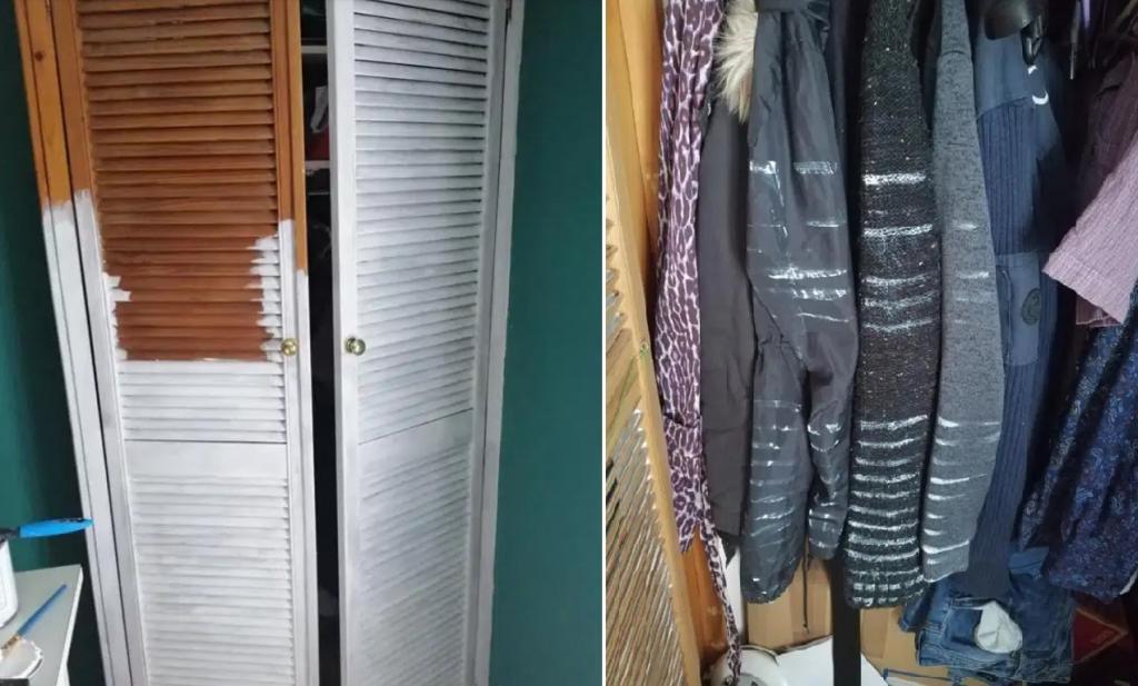 Женщина решила покрасить дверцы шкафа, и теперь мужу придется обновить гардероб: реакция в Сети