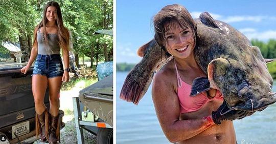 Девушка любит ловить крупную рыбу, но ее метод рыбалки шокирует даже мужчин