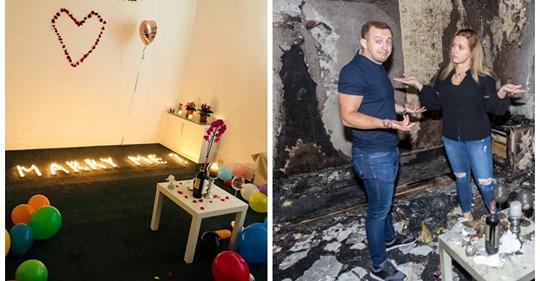 Горячая любовь: парень сжег квартиру, делая любимой предложение руки и сердца
