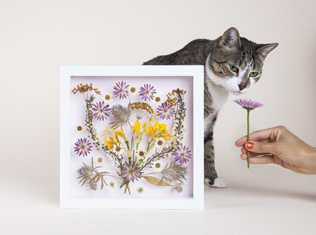 Из прессованных цветов сделала красивую композицию в рамке. Она выглядит объемной и очень нежно смотрится