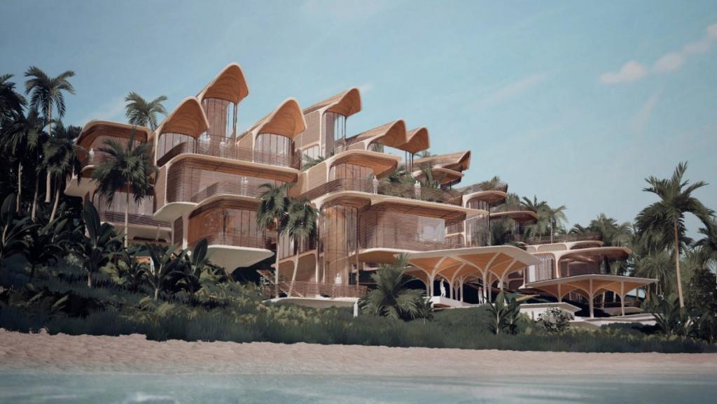 Островное жилье с изогнутыми крышами и закругленными балконами, которое может быть настроено жителями